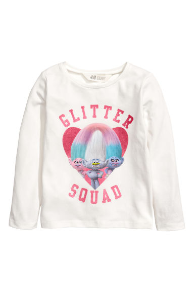 Long-sleeved top - White/Trolls - Kids | H&M