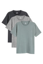 3-pack T-shirts Regular fit - 深灰色/混灰色/灰绿色 - Men | H&M CN 2