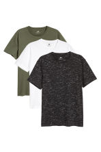 3-pack T-shirts Regular fit - Black marl/Khaki green/White - Men | H&M CN 1