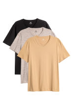 3-pack T-shirts Regular fit - Beige marl - Men | H&M 1