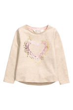 Hooded Sweatshirt with Motif - Light beige - Kids | H&M CA 2