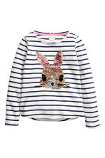 Jersey top with a motif - Blue striped/Rabbit -  | H&M 3