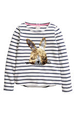 Jersey top with a motif - Blue striped/Rabbit -  | H&M 2