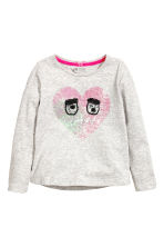 Jersey top with a motif - Light grey marl/Heart - Kids | H&M CN 2