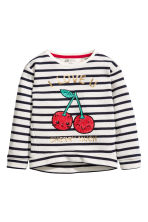 Sweatshirt with sequins - Natural white - Kids | H&M CN 2