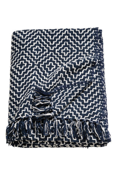 Jacquard-weave Throw - Dark blue/White patterned - Home All | H&M CA 1