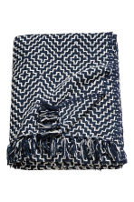 Jacquard-weave blanket - Dark blue/White patterned - Home All | H&M CN 1
