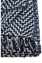 Jacquard-weave Throw - Dark blue/White patterned - Home All | H&M CA 2