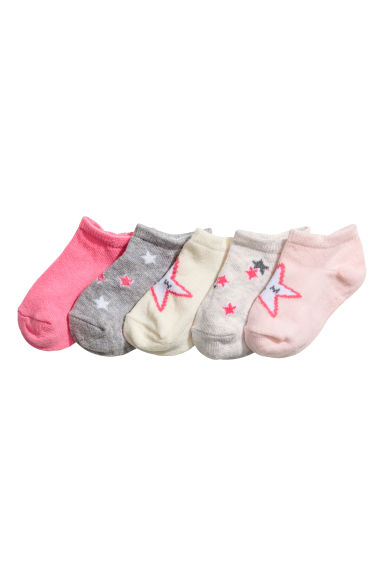 5-pack shaftless socks - Light pink/Stars - Kids | H&M CN 1