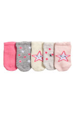 5-pack shaftless socks - Light pink/Stars - Kids | H&M CN 2