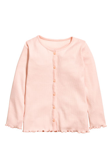 Ribbed jersey cardigan - Light pink - Kids | H&M CA 1