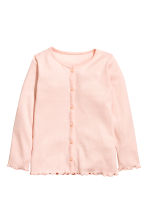 Ribbed jersey cardigan - Light pink - Kids | H&M 1