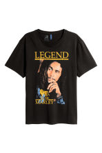 T-shirt with a print motif - Black/Bob Marley - Men | H&M CN 2