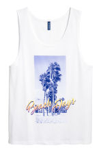 Cotton vest top - White/Palms - Men | H&M 2