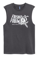 Cotton jersey vest top - Dark grey/Skulls - Men | H&M CN 2