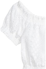Blouse with broderie anglaise - White - Ladies | H&M CN 3
