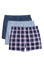 3-pack woven boxer shorts - Dark blue/Checked - Men | H&M CN 2