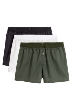 3件入四角褲 - Khaki green/White - Men | H&M 2