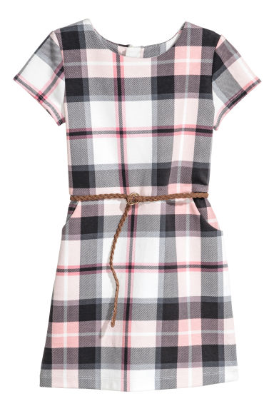 Jersey Dress with Belt - White/Pink checked - Kids | H&M CA