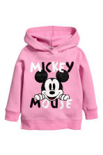 Printed Hooded Sweatshirt - Pink/Mickey Mouse - Kids | H&M CA 2