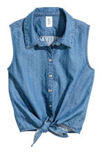 Sleeveless tie-front blouse - Denim blue - Kids | H&M CN 2