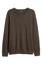 V-neck Cotton Sweater - Khaki green -  | H&M CA 2