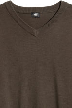 V-neck Cotton Sweater - Khaki green -  | H&M CA 3