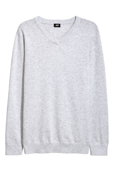 V-neck Cotton Sweater - Light gray melange - Men | H&M CA