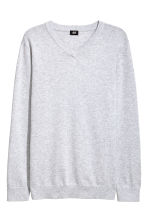 V-neck cotton jumper - Light grey marl - Men | H&M 1
