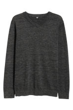 V-neck Cotton Sweater - Black melange -  | H&M CA 2