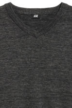 V-neck Cotton Sweater - Black melange -  | H&M CA 3