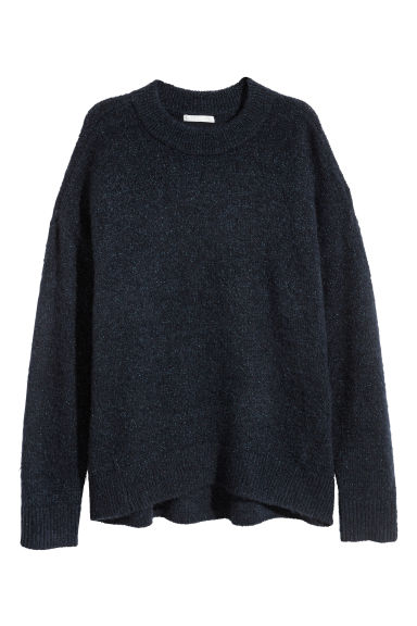 Mohair-blend jumper - Dark blue/Glitter - Ladies | H&M GB