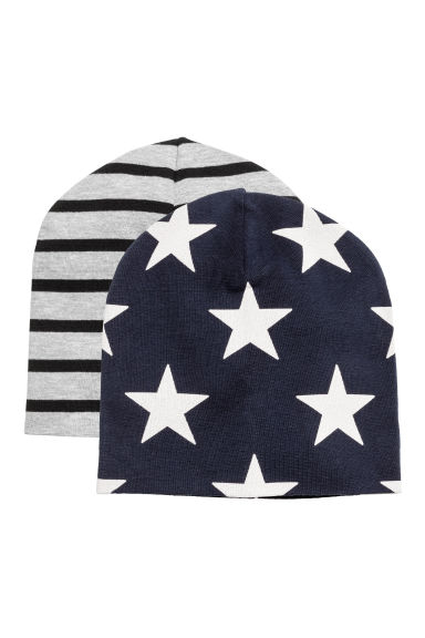 2-pack jersey hats - Dark blue/Stars - Kids | H&M GB