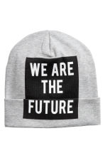 Printed jersey hat - Grey marl - Kids | H&M 1