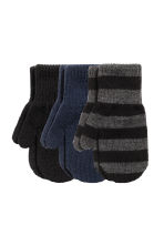 3-pack mittens - Black/Striped - Kids | H&M 1