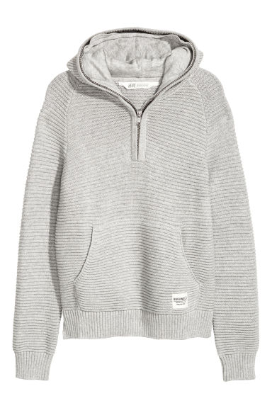 Knitted hooded jumper - Grey -  | H&M CN