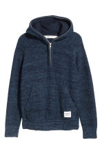 Knitted hooded jumper - Blue marl - Kids | H&M CN 2