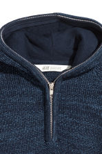 Knitted hooded jumper - Blue marl - Kids | H&M CN 3