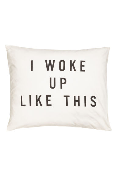 Text-print pillowcase - White -  | H&M GB 1