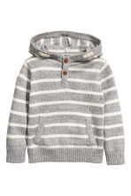 Knitted hooded jumper - Light grey/Striped -  | H&M 2