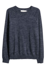 Fine-knit cotton jumper - Dark blue marl - Men | H&M 2