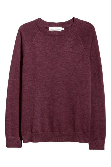 Fine-knit cotton jumper - Burgundy -  | H&M