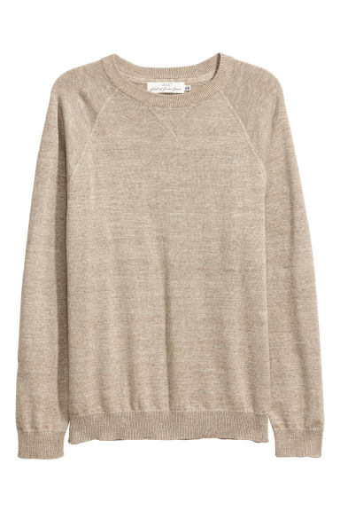 Fine-knit cotton jumper - Beige marl -  | H&M