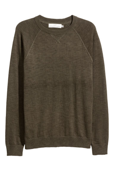 Fine-knit cotton jumper - Dark khaki green -  | H&M IE