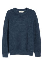 Rib-knit cotton jumper - Dark blue - Men | H&M 2