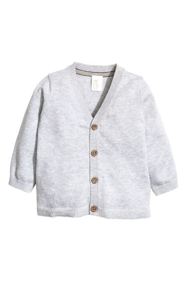 Fine-knit cardigan - Light grey marl - Kids | H&M 1