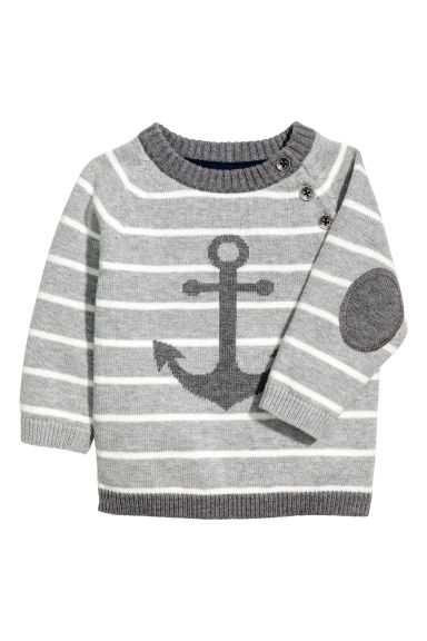 Knit Cotton Sweater - Gray/striped - Kids | H&M CA 1