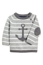 Knitted cotton jumper - Grey/Striped - Kids | H&M 1