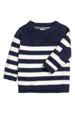 Knitted cotton jumper - Dark blue/Striped - Kids | H&M 1