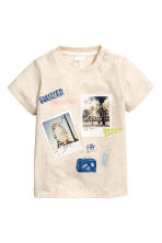 Cotton T-shirt - Light beige marl - Kids | H&M 1